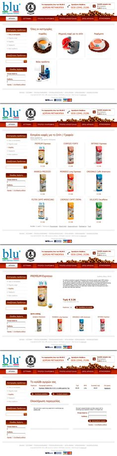Web layout design in photoshop for Blu Caffe eshop Ui Design, Layout Design, Web Layout, Banner Design, Banners, Photoshop, Banner, Website Layout, Posters