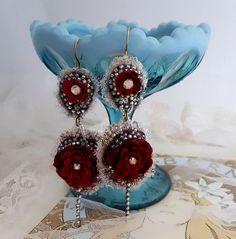 Red Rose earrings double drop flower earrings by LaCamelot on Etsy