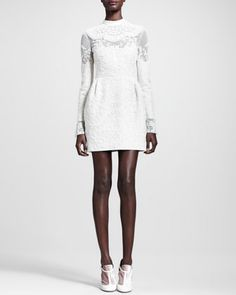 Long-Sleeve Embroidered Wool Dress by Valentino at Bergdorf Goodman.