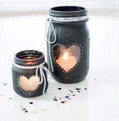 Chalkboard Mason Jar Candle Centerpiece   AllFreeDIYWeddings.com