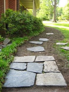 slate walkway diy- side of the house needs to be flatened and re-done