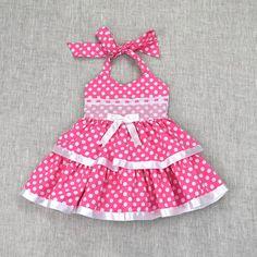 Fishing For Polka Dots-Pink - Diy Crafts Frocks For Girls, Dog Dresses, Toddler Girl Dresses, Little Girl Dresses, Toddler Girls, Baby Frocks Designs, Baby Dress Design, Baby Dress Patterns, Girl Doll Clothes