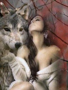 Девушка и волк - анимация на телефон №1366210