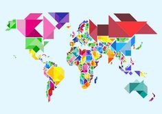 """""""Tangram Abstract World Map"""" by Michael Tompsett, Castellon // Abstract Tangram Map of the World. The Tangram is a Chinese dissection puzzle, consisting of seven flat shapes, called tans, which are put together to form shapes using all seven pieces, which may not overlap. The pieces consist of 2 large triangles, 1 medium triangle, 2 mal... // Imagekind.com -- Buy stunning fine art prints, framed prints and canvas prints directly from independent working artists and photographers."""