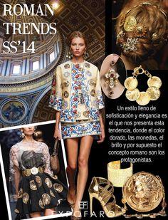 Un estilo lleno de sofisticación y elegancia es el que nos presenta esta tendencia, donde el color dorado, las monedas, el brillo y por supuesto el concepto romano son los protagonistas.
