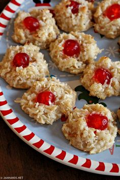 Cherry Topped Coconut Macaroons are one of my all time favorite Christmas treats. The traditional Eagle Brand recipe is used, with one ch. Cherry Macaroons Recipe, Macaroon Cookies, Cherry Cookies, Macaroon Recipes, Shortbread Cookies, Coconut Desserts, Coconut Cookies, Coconut Recipes, Yummy Cookies