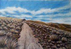 Pisa Range Road to Nowhere Pastel Artwork, Pisa, New Zealand, My Arts, Range, Mountains, Nature, Artist, Travel