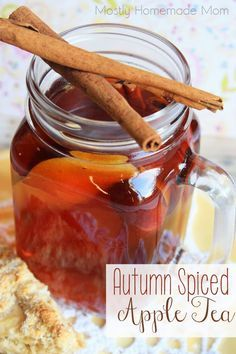 Autumn Spiced Apple Tea - This typical hot tea gets a fall flavored twist with cloves, apple juice, and cinnamon - simple and delicious!