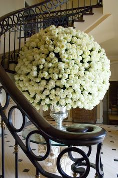 Glorious bouquet of long stem white roses. Spectacular bouquet. Make certain heads were wired properly before arranging to avoid drooping heads. My favorite are Peony but these will do nicely, but only as an alternate.
