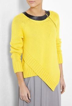 Yellow Panerea Leather Trim Chunky Knit by Sportmax
