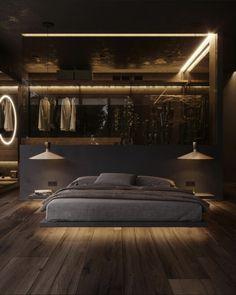 Dark Master Bedroom, Master Bedroom Design, Modern Bedroom, Home Room Design, Dream Home Design, House Design, Black Interior Design, Luxury Interior, Modern Interior