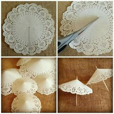 15 ideas for bridal shower tea party paper doilies Paper Doily Crafts, Doilies Crafts, Mini Umbrella, Umbrella Crafts, Umbrella Decorations, Tea Party Decorations, Tea Party Centerpieces, Tea Party Crafts, Lace Umbrella