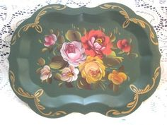 Hand-painted coral yellow pink roses Chipendale serving tray