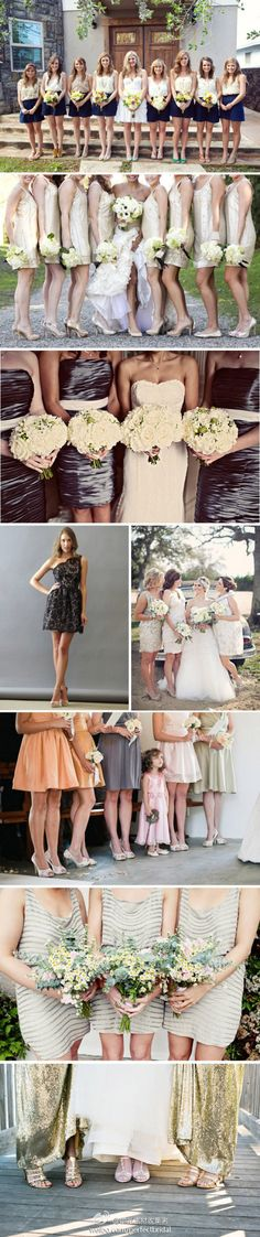 flirty and shiny bridesmaids Beautiful Bridesmaid Dresses, Wedding Bridesmaids, Wedding Dress, Wedding Images, Mix Match, The Row, Cool Outfits, Dream Wedding, Style Inspiration