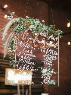 lucite wedding sign /  / http://www.himisspuff.com/acrylic-and-lucite-wedding-decor-ideas/6/