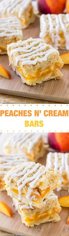 Peaches and Cream Bars: super easy dessert to make & these bars are always a huge hit at a party!