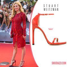 Bella Thorne in Stuart Weitzman Nudist Red Leather Ankle-Strap Sandals - ShoeRazzi
