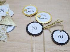 MIMOSORUM : Un 70 Cumpleaños en Dorado 65th Birthday, Ideas Para Fiestas, Dragon Ball Z, Party Planning, Centerpieces, Place Card Holders, Creative, Crafts, Diy
