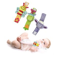 Bayi & Anak-anak Kartun Bayi Tali Pergelangan Tangan Mewah Guncang Mainan 0-12 Bulan Anak Bayi Newborn Lembut Hewan Mainan Kerincingan Mobiles