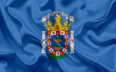 Download wallpapers Flag of Melilla, Spain, Melilla coat of arms, Spanish city, blue silk