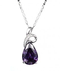 Teardrop Purple Cubic Zirconia #Necklace