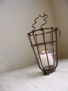 Upcycled Vintage Rusty Bulb Protector Candle Holder by cattales Etsy