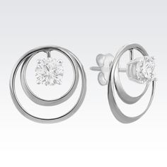 Freshen up your solitaire stud style with a new pair of earring jackets. This pair of circle earring jackets is crafted of quality 14 karat white gold, measure Circle Earrings, Dangle Earrings, Diamond Solitaire Earrings, Round Cut Diamond, Jewelry Accessories, White Gold, Engagement Rings, Jackets, Lust