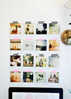 Easy and cute way to hang photos. Great for ones that get changed out often