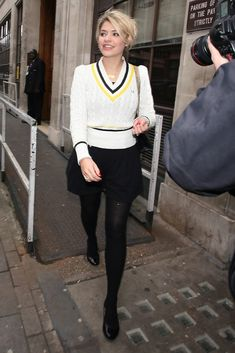 Holly Willoughby Photos - Holly Willoughby leaves BBC Radio one studios in London wearing a fashionable Fred Perry cricket-style sweater. - Holly Willoughby Leaves BBC Radio One Pantyhose Outfits, Tights Outfit, In Pantyhose, Holly Willoughby Legs, Holly Willoughby Outfits, Cricket Outfits, Kirsty Gallacher, Bad Girl Outfits, Renaissance Clothing