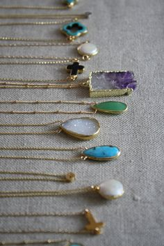 Glamorous and glittering gemstone necklaces by Kei Jewelry.  All so pretty.