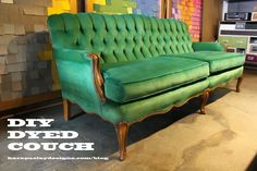 DIY Dyed Couch using Rit Dye, a blowdryer, and scotch guard // SAY WHAT? My couch needs this treatment asap.