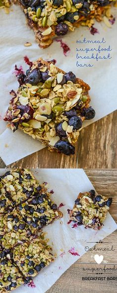 Eat Healthy Oatmeal Superfood Breakfast Bars loaded with protein, clean, healthy ingredients. Perfect way to start your day. Gluten free and Vegetarian - A Healthy Life For Me - Oatmeal Superfood Breakfast Bars Recipe Vegetarian and Gluten Free Healthy Snacks, Healthy Eating, Healthy Recipes, Breakfast Healthy, Blueberry Breakfast, Healthy Breakfasts, Healthy Bars, Breakfast Bar Food, Superfood Recipes