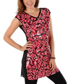 Another great find on #zulily! Pink & Black Paillette Tunic #zulilyfinds