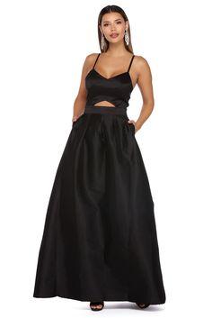Dana Black Cut Out Taffeta Ball Gown