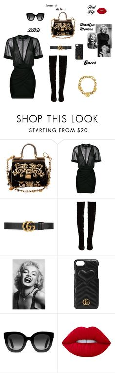 """""""Couture Queen"""" by lookwhatyoumademeo ❤ liked on Polyvore featuring Dolce&Gabbana, Balmain, Gucci, Christian Louboutin, Chanel, Brewster Home Fashions, Lime Crime and Versace"""
