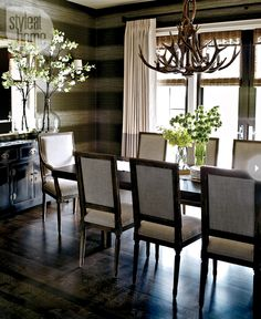 Striped wallpaper + rustic chic chandeluer + tall mirror over dark credenza in dining room by Nam Dang Mitchell