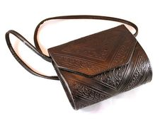 1960s   Tooled Leather Purse  by Moroccan  by ChickClassique, $36.00
