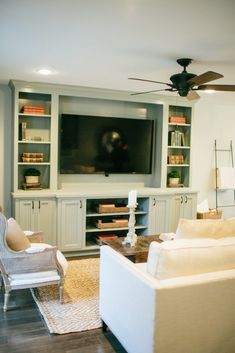 Fixer Upper Season 2 / Entertainment center is oyster bay by Sherwin Williams.