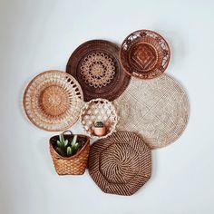 Basket Set by Kindred Finds Boho Living Room, Living Room Decor, Bedroom Decor, Baskets On Wall, Decorative Wall Baskets, Hanging Baskets, Wicker Baskets, Basket Decoration, Home Decor Inspiration
