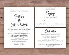 Printable Wedding Invitation Set  by DarlingPaperCompany on Etsy