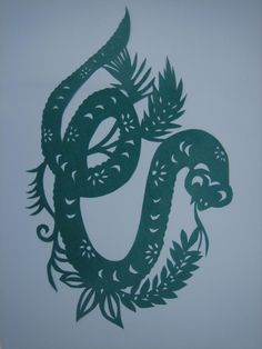 The twelve animals paper-cutting of the Chinese Zodiac---snake