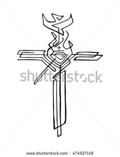 Hand drawn vector illustration or drawing of a religious cross with different symbols God Tattoos, Body Art Tattoos, Jesus Drawings, Simple Tats, Bible Illustrations, Arm Sleeve Tattoos, Fabric Gift Bags, Prophetic Art, Jesus Art