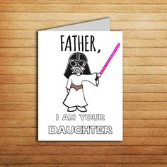 Star Wars Card Fathers Day For Dad Gift From Daughter Birthday Darth Vader Princess