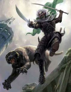 Drizzt Do'Urden by Todd Motherfuckin Lockwood. This man is responsible for me purchasing the Drizzt series a second time, just for the new covers.