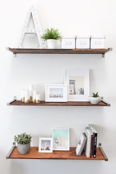 DIY distressed wooden shelves by Sugar & Cloth - painted white, not distressed