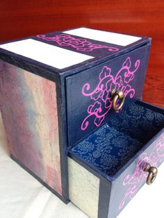 Hanji Cabinet, Chest of Drawers, Tabletop, Jewelry Box Desk Organizer with Metal Handles and Flower Design
