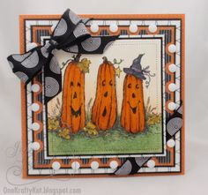 One Krafty Kat made card using Serendipity Stamps Tall Pumpkins rubber stamp