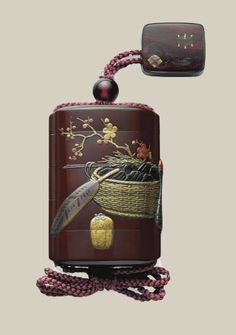 A four-case lacquer inro and box netsuke en suite Meiji period (late 19th century), Japan, signed Zeshin (Shibata Zeshin; 1807-1891) Decorated in polychrome takamaki-e with scenes of implements for the first tea event of the New Year (hatsugama), including the basket with charcoal, tongs and feather on one side and fresh-water container, tea bowl and whisk on the other side, and with plum branches in bloom, all against a brown-lacquer ground; with box (hako) netsuke decorated in matching…