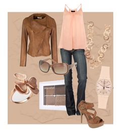 """Peach and Tan"" by staceedawn ❤ liked on Polyvore featuring Toast, Sonia Kashuk, 7 For All Mankind, Miss Selfridge, Mita Marina Milano, Wild Diva, FOSSIL and Swatch"