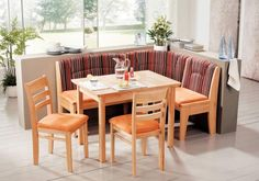 Comfortable Corner Banquette Also Orange Armless Chairs And Tiny Square Table Design In Awesome Breakfast Nook Idea